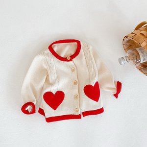 2021 New Spring Baby Girl Sweater Coat Long Sleeves Open Stitch Love Heart Outwear Children Newborn Clothes E3026