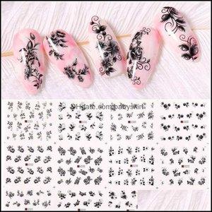 Stickers Salon Health Beautystickers & Decals 1 Pc Art Flower Series Nail Sticker Water Transfer Decoration Diy Decor Nails Aessories Drop D