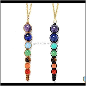 Pendant Necklaces Lava 7 Yoga Chakra Natural Stone Reiki Healing Balance Buddha Necklace Power Inspirational Jewelry For Women Gift Dr Wit6Z