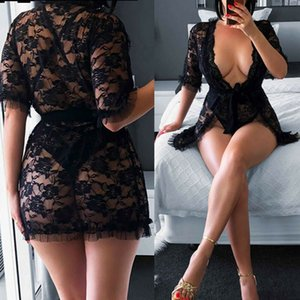 Sexy Lingerie Black Lace Dress Sleepwear Ladies Nightgown Underwear