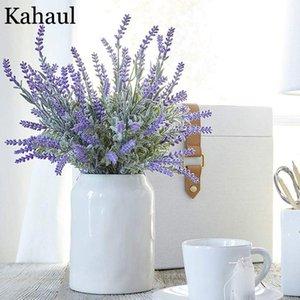 Artificial Plastic Lavender Flowers Bouquet Provence Decoration Fake Plant Silk Flower For Wedding Home Table Centerpieces Decor Decorative