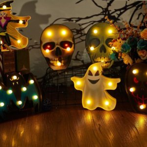 Оптом Хэллоуин украшения тыква паук летучая мышь ведьма призрак череп светодиодный ночной светильник для комнаты домашний декор фестиваль бар вечеринка поставки xx55