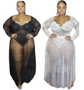 Plus size XL-4XL 5XL Women sexy jumpsuits+sheer mesh dress two piece set fashion bodysuits+sexy lace one-piece skirt evening dress 2520