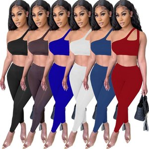 Asymmetrical Design Two Pieces Sets 2021 Summer Solid Sexy Slash Neck Sleeveless Tops Women Pencil Pants Nightclub Suits Women's Tracksuits