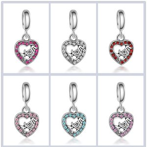 Mother's Day Jewelry Crystal Loose MOM Beads Charm Big Spacer Hole Fit Bracelet Craft Bead Pendant Rhinestone For Silver Jewelry Making Emgs