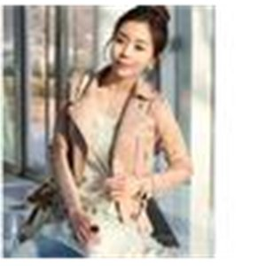 Women's Jackets chic korea pink color women short motorcycle with zipper2 colors size M L