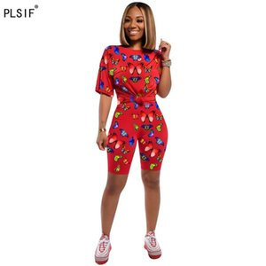 Two Piece Dress Fashion Animal Spliced Women Clothing O-neck Short Sleeve Top And Biker Shorts 2 Set Casual Sports Outfit