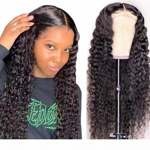 Kinky Curly Lace Front Human Hair Wigs 30 inch Lace Part Wigs Pre Plucked With Baby Hair 150% Brazilian T Part Human