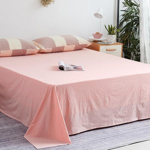 Sheets & Sets Modern Solid Color Bed Sheet Soft Comfort Breathable Flat Cover Washed Cotton All Szies Mattress Protector Home Textile