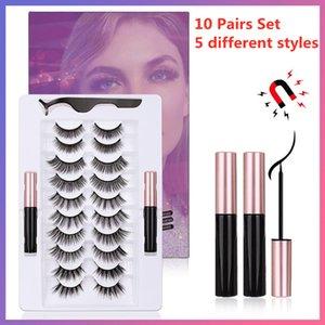 Upgraded 10 Pairs Magnetic Eyelashes Double Liquid Eyeliner Kit With Tweezer Reusable 3D 6D False Lashes Magnetic Eyeliner Natural No Glue Needed