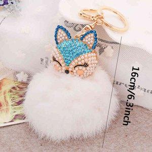 Fox Head Rabbit Fur Soft Lovely Pink Metal Key Chain Ball Pom Poms Plush Keychain Car Keyring Bag Accessory GWE4315 DF5F