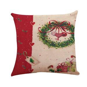Christmas Pillowcase Santa Cushion Covers Home Sofa Pillow Case Xmas Pillows Cover Party Supplies Decor Decorations GWE9577