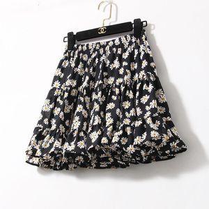 Skirts Summer Short Floral Skirt Chiffon Ruffles Tutu Women Mini Purple Black Pink Yellow Boho Mujer Faldas Femme Jupes