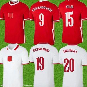أعلى 2021 Pol Lewandowski المنتخب الوطني وكرة القدم الفانيلة المنزل الأبيض بعيدا أحمر ميليك Piszczek Piatek Groskici جيرسي كرة القدم