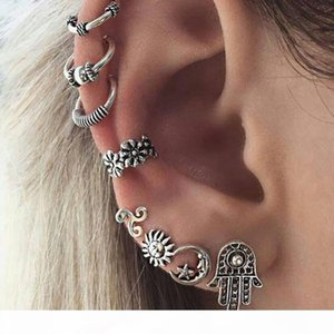 Women's Ear Cuff Sets Accessory Retro Design alloy geometic circle fatima hand sun moon Earrings Set for Girls Designer Jewelry Gift