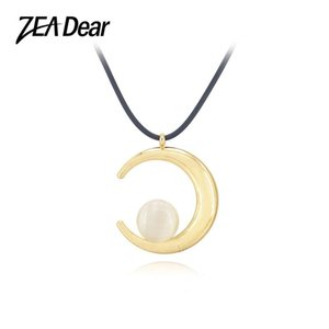 ZEADear Jewelry Leather Rope Choker Necklace Round Chains For Men Women High Quality Exquisite Opal Moon Party Gift Chokers