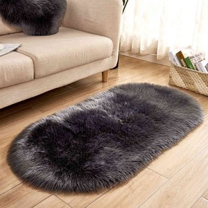 Fluffy Rugs Oval Shaped Soft Faux Fur Wool Carpet for Living Room 40*60cm 60*120cm Hand Washable Anti-slip Imitation Wool Rugs