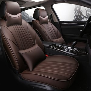 Car Seat Covers, Universal for 5 Seats Waterproof Full Set PU Leather Seat Cushion Suitable fit Most Sedan SUV Truck (Coffee)