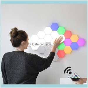 Deco El Supplies Home & Gardenremote Control Honeycomb Modular Assembly Helios Touch Wall Lamp Rgb Quantum Led Magnetic Light Bedroom Drop D
