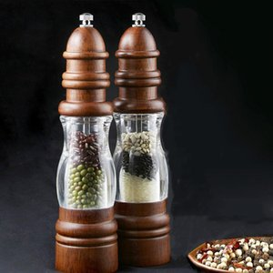2pcs Antique Pepper Salt Mill Grinder Solid Wood and Acrylic Bottle Hand Ceramic Grinding Mechanism Spice Peper Kitchen BBQ Mills