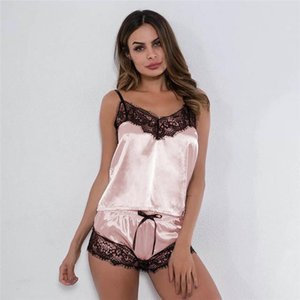 Women Womens Sleepwears Sexy Lingerie Satin Pijamas Mujer Silk Pajama Sets Lace Vest Sleeveless Bell Top Short 2Pcs Sleepwear