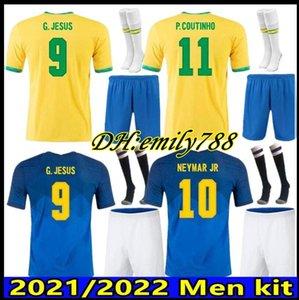 الكبار عدة 20 21 كرة القدم جيرسي G.JESUS 2021 Coutinho Fridsino Marcelo Men Kits Brasil Football Jerseys Shirt