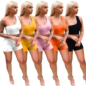 Summer Women Tracksuits Slim Sexy Short Outfits Two Pieces Set Solid Colour Off Shoulder Jogger Suits Vest Shorts Sweatsuit Plus Size