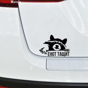 Three Ratels FTZ-113# 20x14.3cm Raccoon Funny Car Sticker Vinyl Decal For Auto Stickers Styling Decoration