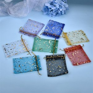 100pcs Jewelry Bag Mesh Portable Storage Necklace Ring Packaging Drawstring Star Moon Shiny Pearl 7x9cm 9x12cm Pouches, Bags