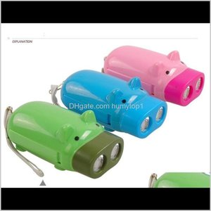 Lanternas pressão mão recarregável mini porco crianças brinquedo de brinquedo bolso lanterna lanterna polegada de sequeiro com 2 lâmpadas de tochas de LED uoil2