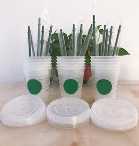 16oz 473ml Plastic Tumblers Reusable Clear Drinking Flat Bottom Cup Pillar Shape Lid Straw Mug 5pcs HH21-182