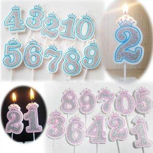 Wax свечи номера 0/1.11.03.04.06.06.06/8/8/9 на день рождения // Юбилейная вечеринка Торт Топперы Украшения DIY Подарочный Craft Crown / Black Wh