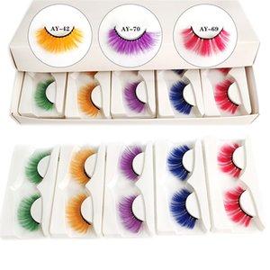 Colorful Eyelashes Halloween Faux Mink Colored Long Dramatic False Eyelashe Extension Party Fake Lashes Makeup Tools