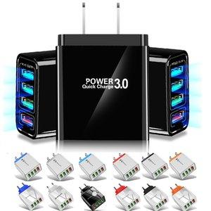 Быстрый быстрый быстрый заряд QC3.0 ЕС US 4 USB Порты Настенное зарядное устройство адаптер 30W для iPhone 7 8 11 XR Samsung LG Android Phone