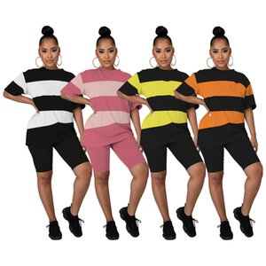 Plus size 2xl Panelled tracksuits Women Clothing Stripe t-shirt shorts letter print Short Sleeve Capris outfits casual sportswear leisure wear yoga sweatsuits 120