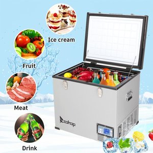 ZOKOP Car Auto-Refrigerator Portable Mini Fridge 60L American Standard BCD60 DC12V   24V AC100-120V LCD Panel For Camping