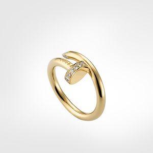 Luxus Designer Mode Klassische Nagel Ring Herren Band Ringe Diamanten Designer Luxus Schmuck Frauen Titan Stahl Legierung vergoldetes Handwerk Gold
