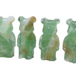 Natural Green Fluorite Crystal Gem Carving Bear Gifts Statue Reiki Quartz Mineral Energy home Decoration Festival