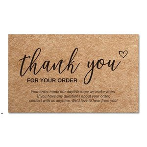 Thank You Order Cards Kraft Paper Products Thanks Card Appreciation Cardstock Purchase Inserts to Support Small Business Customer DWA7598