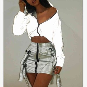 Thefound crop top flash reflective women jacket casual hoodies fashion streetwear 2020 autumn winter female zipper soild gray
