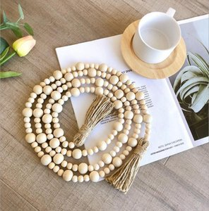 Natural Wooden Tassel Bead Chain Farmhouse Decor Hand Made Wood Decoration Beads Hemp Rope Home Hanging
