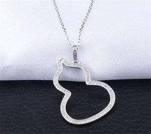 Classical Jewelry 925 Sterling Silver Gourd Necklace Delicate Insert Drill Female Pave White Sapphire CZ Diamond Chain Pendant Gift 3 J2
