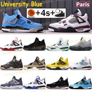 2019 4 New Bred 4 4S IV Qu'est-ce que le Silt Red Splatter Hommes Chaussures de Basketball Denim Bleu Eminem Pale Citron Sports Designer Sneakers 41-47