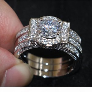 Vintage 10KT white gold filled Rings Finger Lady Simulated Diamond CZ Cocktail Gemstone Ring sets Engagement Wedding Bride Jewelry for Women