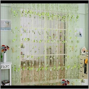 & Shading Tulip Flower Sheer Window Curtain Beads Tassel Door Scarf Drapes Valance Tq 1Jsbf H3Dom