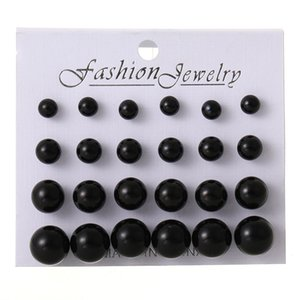 Earings for Woman Fashion White Pearl Piercing Stud Earrings Women Lady Jewelry 6mm 8mm 10mm 12mm Mix Size 1 Card 12 Pairs Earrings 23 N2