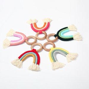 Wholesale Food Grade Baby Teething Wooden Ring Rainbow Tassel Macrame Cotton Nursing Teether Molar Sensory Toy Kids Bpa 932 V2