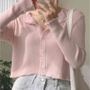 Women V-Neck Knitted Casual Ruched Short Sweaters Cardigans Lady Knitting Soft Thin Summer Cardigan Outwear for Female 210412