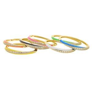 Armreif für Frauen Gold Farbe 2021 Sommer Verkauf Schmuck 7 Bunte Neon Emaille 5A Kubisches Zirkonia Armband