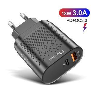 Adapter 18W Power Charger Adapter QC3.0 PD Быстрая зарядка USB Тип C 2 Порты Путешествия Главная Офис ЕС US UK для iPhone 12 Pro Max Универсальные зарядные устройства Adaptive MQ50
